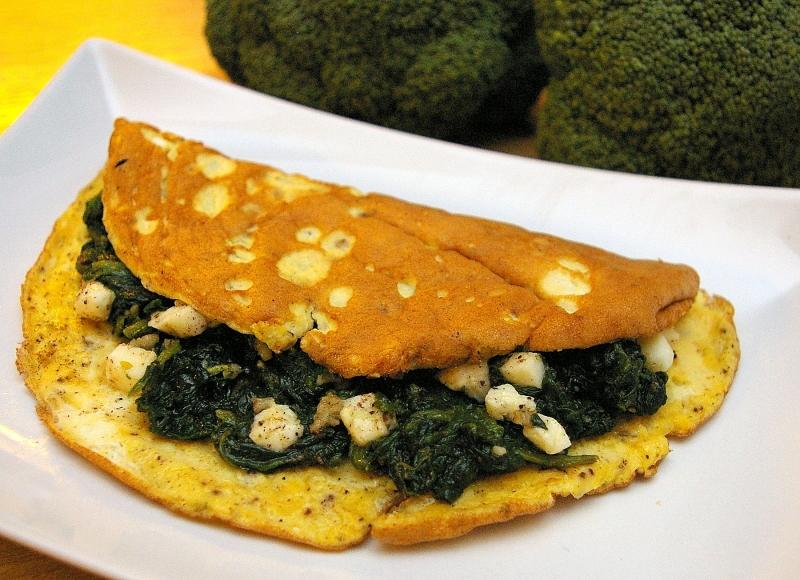 Dietetyczny omlet naleśnik ze szpinakiem hewps.pl Blog Kulinarny