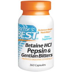 DOCTOR'S BEST Betaine HCL Pepsin & Gentian Bitters 360 kaps.