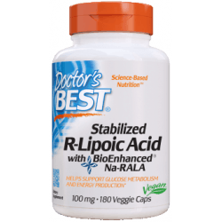 DOCTOR'S BEST Stabilized R-Lipoic Acid 100mg 180 kaps.