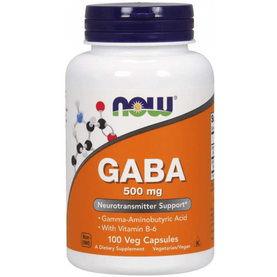 NOW FOODS GABA with Vitamin B6 500mg 100 kaps.