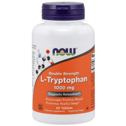 NOW FOODS L-Tryptophan Double Strength 1000 mg 60 tab.